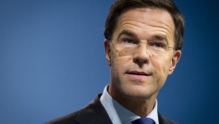 Premier Mark Rutte tijdens zijn wekelijkse persconferentie. Beeld anp