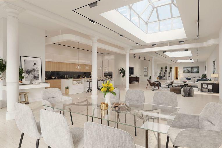De ruimte van meer dan 1500 vierkante meter kan makkelijk ingericht worden tot deze moderne loft