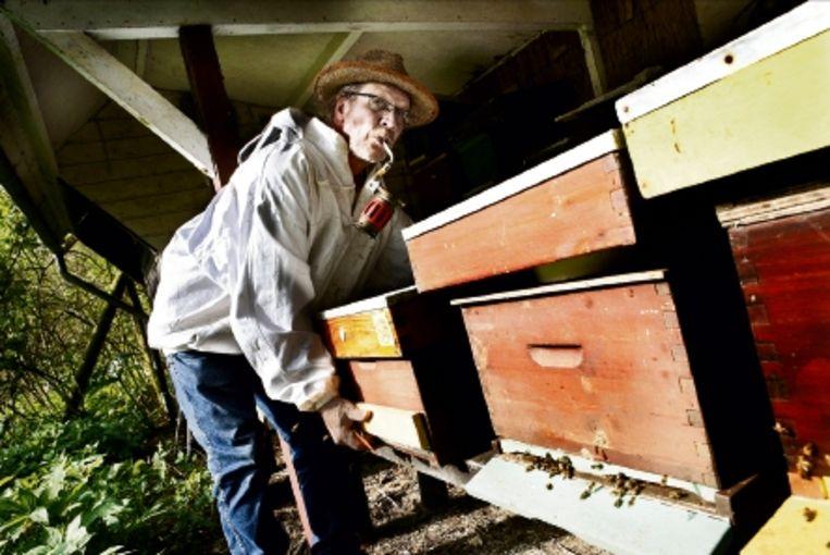 Imker John Driebergen en zijn bijenkasten. 'Bijen zijn enorm belangrijk voor de economie.' (Trouw) Beeld