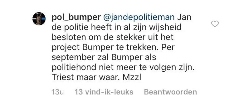 'Per september zal Bumper als politiehond niet meer te volgen zijn.'