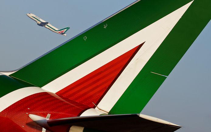 Een vliegtuig van Alitalia op Fiumicino International Airport in Rome.