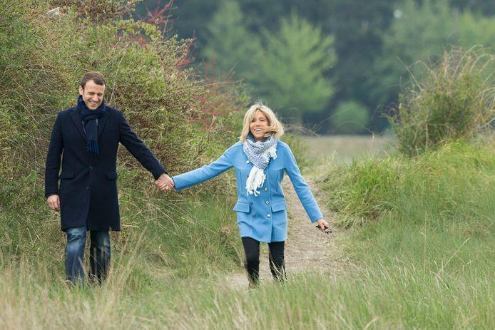 Emmanuel Macron met zijn vrouw Brigitte Trogneux.