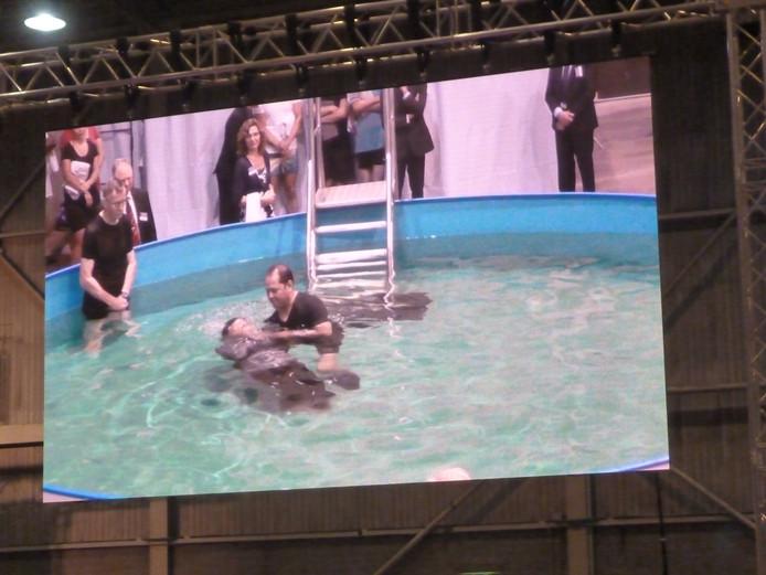 Op vier grote schermen konden de vijfduizend volgelingen van Jehova meekijken naar de doop die bij het grote podium plaatshad.