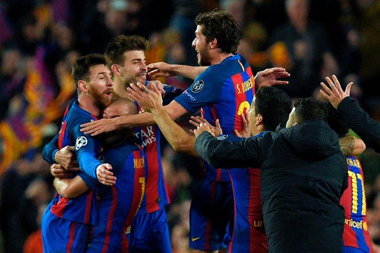 Barcelona wist in de vorige ronde Paris Saint Germain uit te schakelen door de thuiswedstrijd op miraculeuze wijze met 6-1 te winnen. Beeld afp