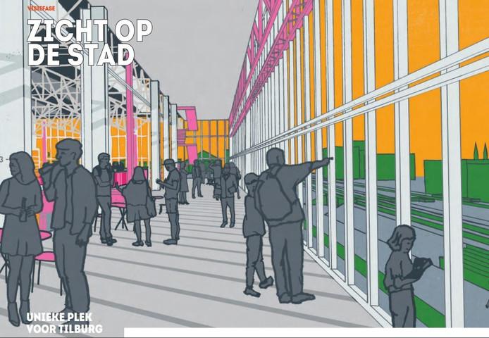 Artist impression van nieuw stadsbalkon LocHal