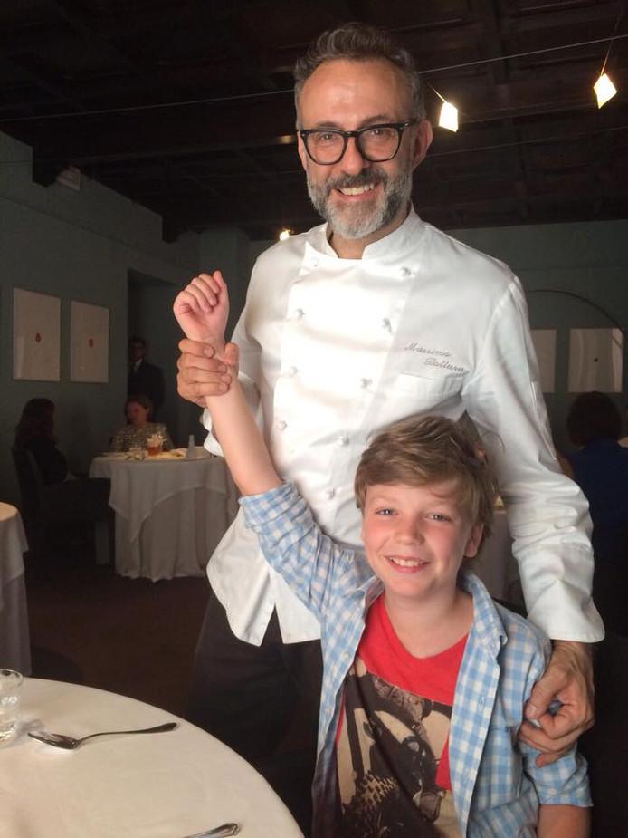 Jan-Reijer Bagijn een paar jaar geleden in het restaurant van Massimo Bottura, dat vorig jaar bovenaan de lijst stond van beste restaurants van de wereld.