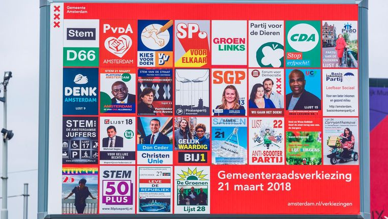 Een verkiezingsbord in Amsterdam. Beeld ANP
