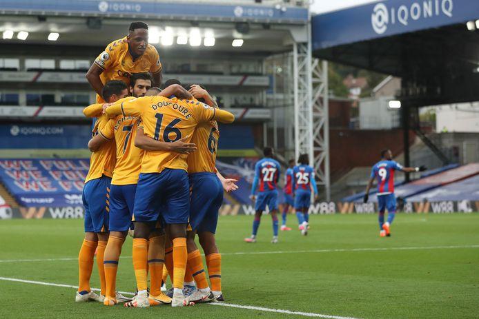 Spelers van Everton vieren een doelpunt.