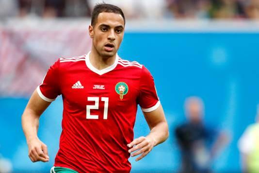 Sofyan Amrabat als international van Marokko op het WK.