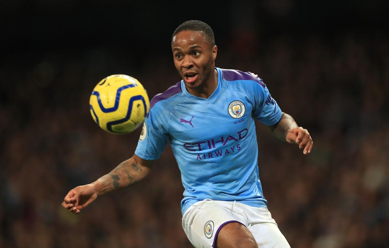 Raheem Sterling in december in actie voor Manchester City.  Beeld BSR Agency