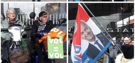 Teruglezen: Stoet met PVV-demonstranten trekt door Rotterdam