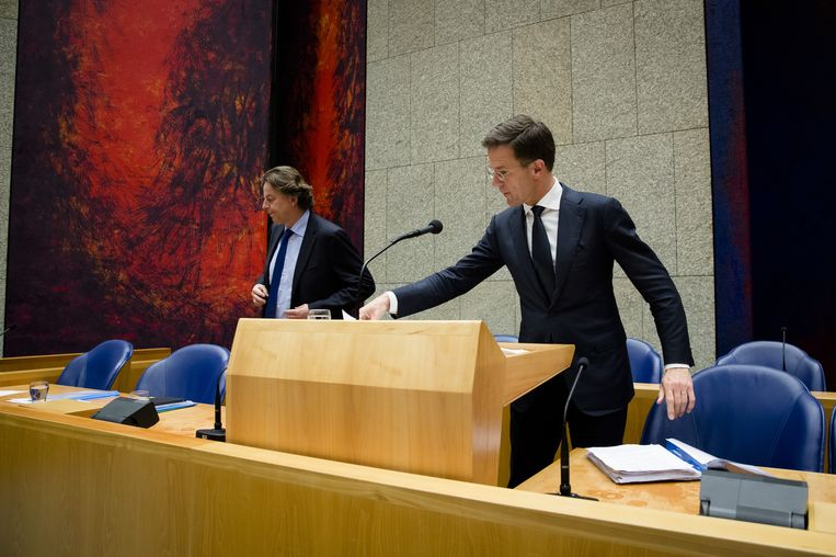 Premier Mark Rutte en minister Bert Koenders tijdens het debat over de uitslag van het referendum over het associatieverdrag met Oekraïne. Beeld anp