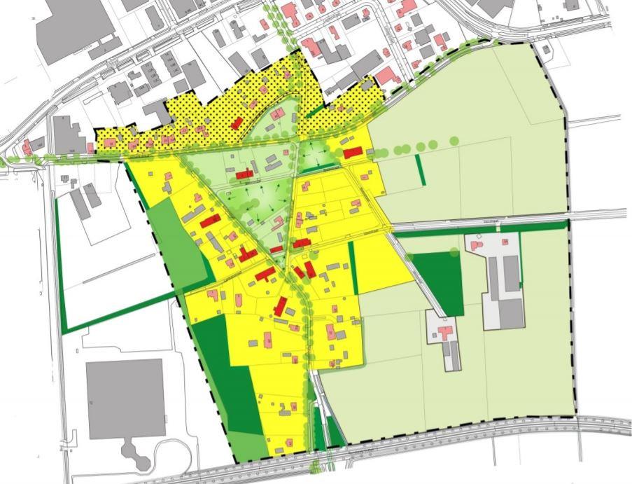 Zo ziet de toekomstschets voor buurtschap Lankes eruit: de groene driehoek is het woonhart, rechts het grote open karakter van het gebied. Met name in het gele gebied is nog ruimte om te bouwen.