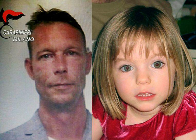 De Duitse verdachte Christian Brückner (links) en het in 2007 verdwenen meisje Maddie McCann.