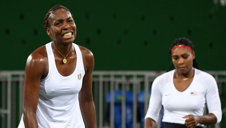 Teleurstelling bij Venus Williams tijdens het dubbelspel in Rio. Beeld afp