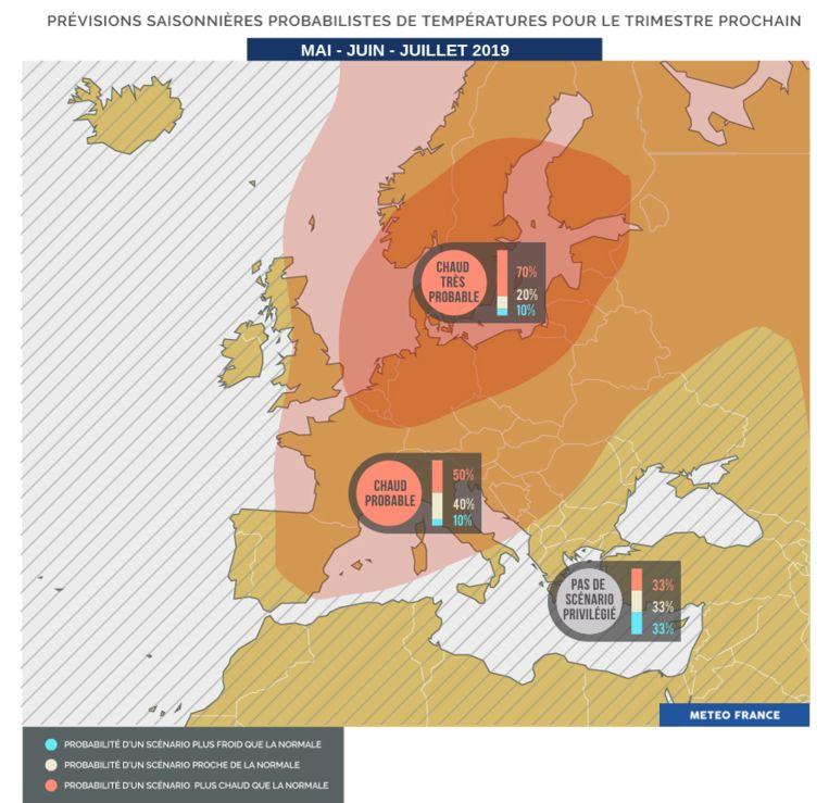 Uit voorspellingen van Météo-France blijkt dat het wellicht warmer en droger wordt dan normaal in de maanden mei, juni en juli.