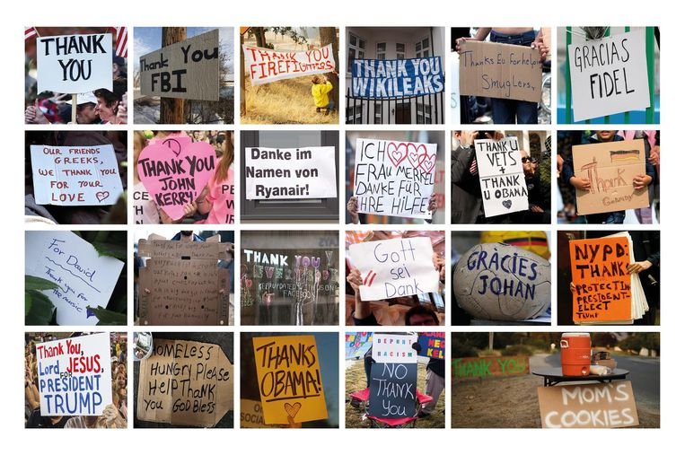 Dank voor onder meer Johan Cruijff, Angela Merkel, God, Obama. Beeld AFP, AP, Demotix, EPA, FotoWare, Getty, Reuters