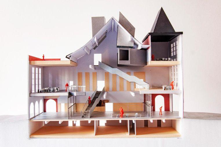 Een maquette van hoe het stadhuis er moet uitzien na de renovatie.
