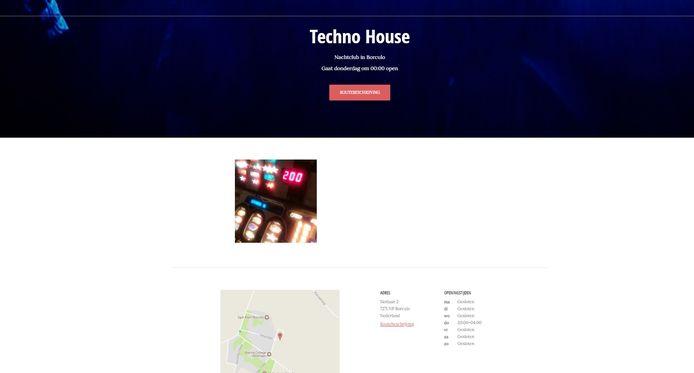 De inmiddels offline gehaalde site van de nachtclub Techno House.