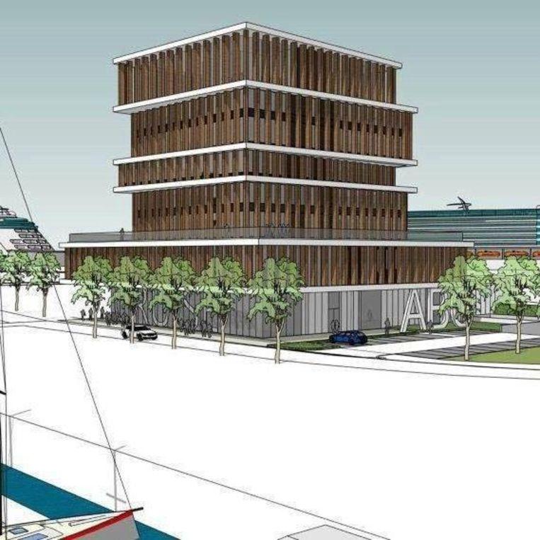 Op de twee bovenste verdiepingen van dit gebouw komt rooftoprestaurant 'Njord'.