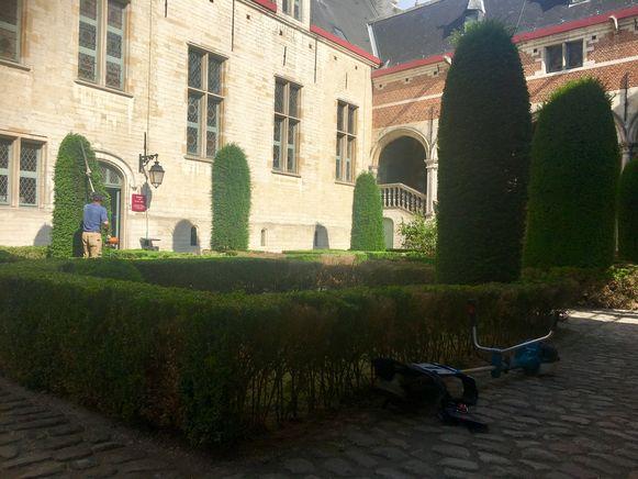 Een tuinaannemer is vanochtend begonnen met de opfrissingswerken in de tuinen van het gerechtsgebouw in Mechelen.