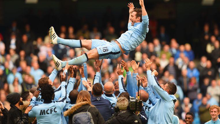 Frank Lampard is de gevierde man bij Manchester City. Hij vertrekt volgend jaar naar Amerika. Beeld Getty Images