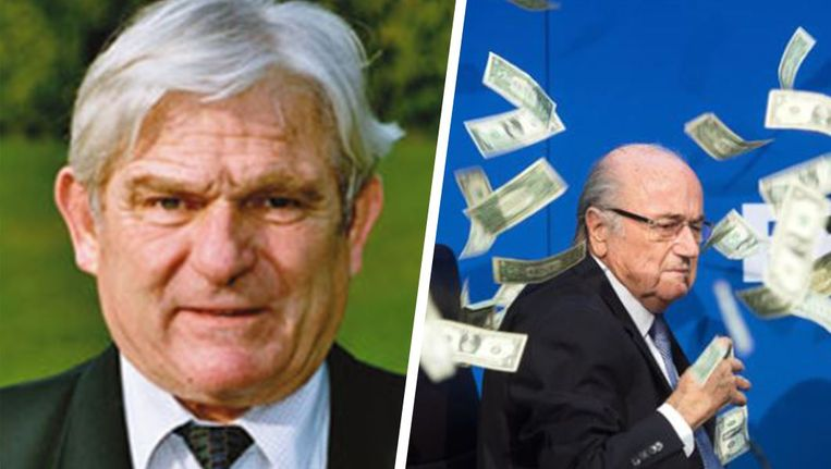 Links: René Hüssy, rechts: Sepp Blatter.