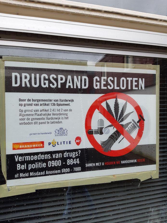 Eerder dit jaar werd ook al een pand in Harderwijk gesloten op grond van de Opiumwet.