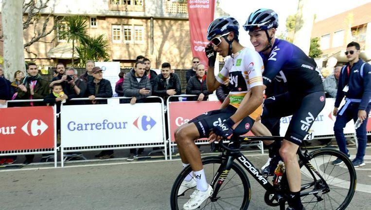 Froome en Bernal (voorop de fiets) in betere tijden. Beeld Manel Montilla