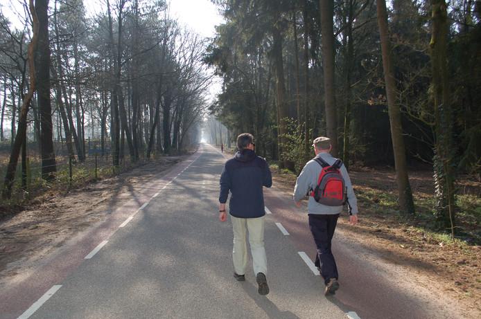 Twee wandelaars lopen bij Schaijk natuurgebied de Maashorst in.