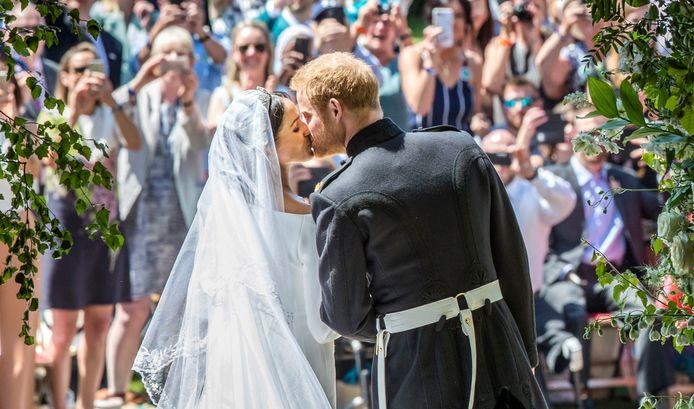 Harry en Meghan op hun huwelijksdag