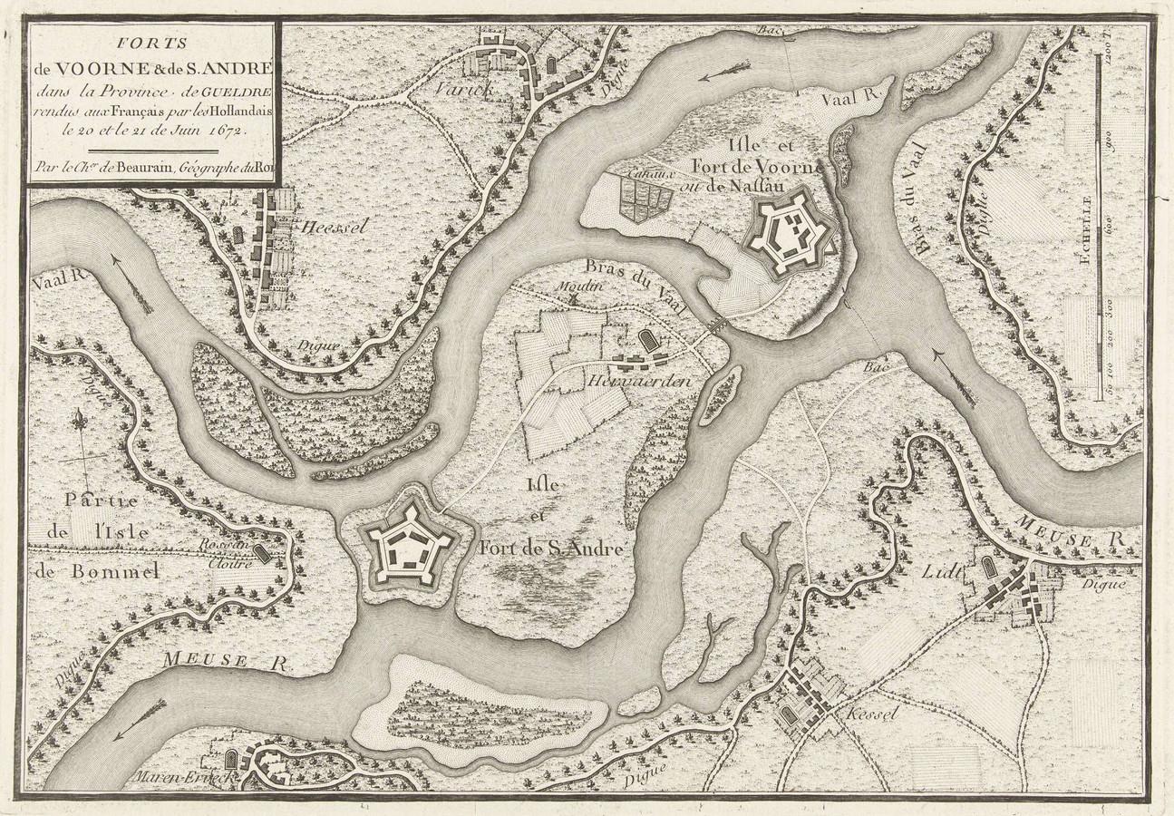 Kaart uit 1672 met de verbindingen tussen de Maas en de Waal bij Dreumel en Heerewaarden.
