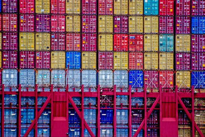 Containers in de Rotterdamse haven.