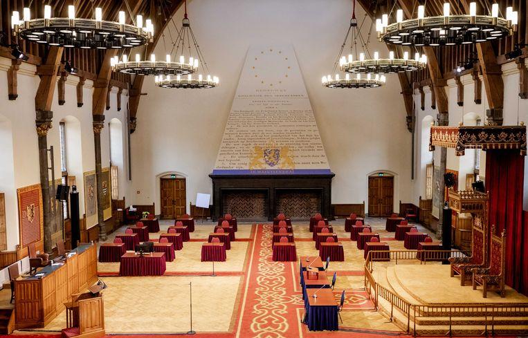 De Eerste Kamer gaat tijdelijk vergaderen in de Ridderzaal.  Beeld ANP