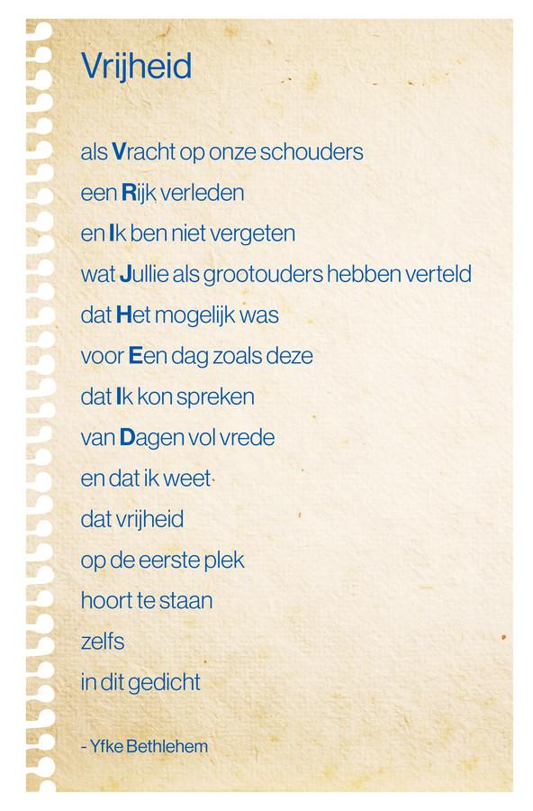 Verrassend Dit is Yfke (17) uit Steenwijk. Haar boodschap: 'Vrijheid is ook EZ-94