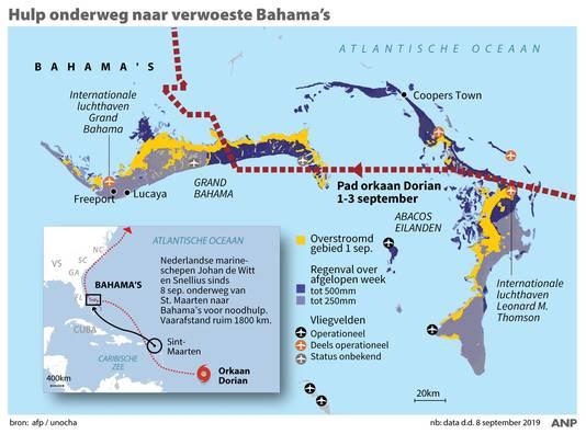 Nederlandse hulp onderweg naar de door orkaan Dorian verwoeste Bahama's.