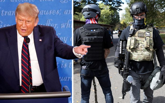 """""""Stand back, stand by"""": de Amerikaanse president vraagt de 'Proud Boys' om alert te zijn."""