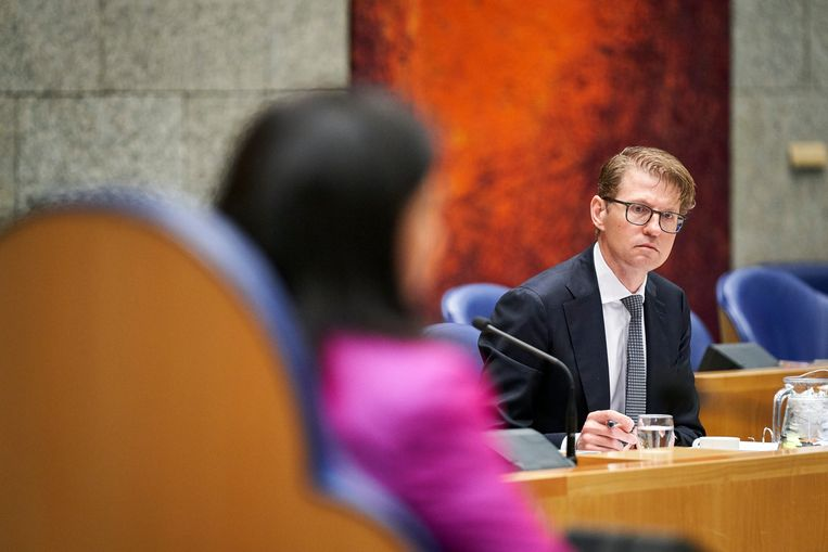 Minister Sander Dekker (Rechtsbescherming) tijdens het debat in de Tweede Kamer over de moord op Anne Faber Beeld Phil Nijhuis