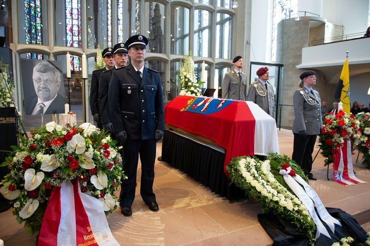 De uitvaart van Walter Lübcke afgelopen donderdag in de Martinuskerk in Kassel. Beeld Reuters