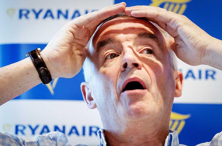 CEO Michael O'Leary van Ryanair tijdens een persconferentie over de toekomstplannen van de luchtvaartmaatschappij.