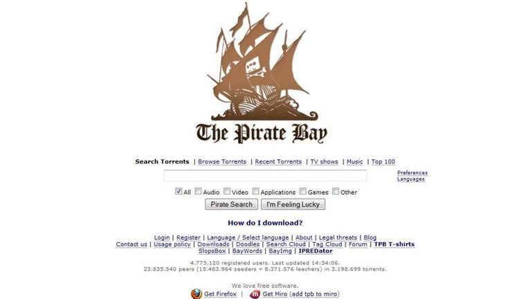 Screenshot van The Pirate Bay. Beeld