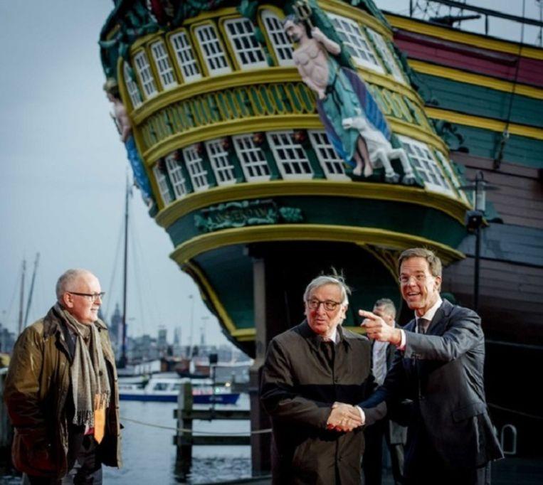 Mark Rutte ontving afgelopen januari commissievoorzitter Jean-Claude Juncke bij het Scheepvaartmuseum. Beeld anp