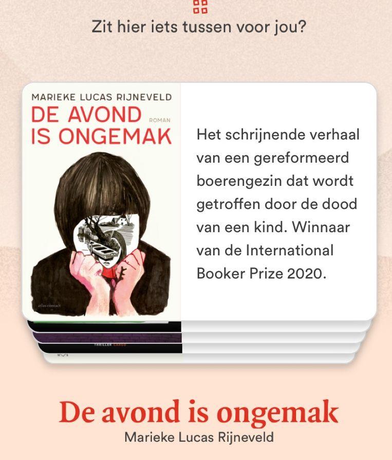 'De avond is ongemak' van Marijke Lucas Rijneveld op de app. Beeld