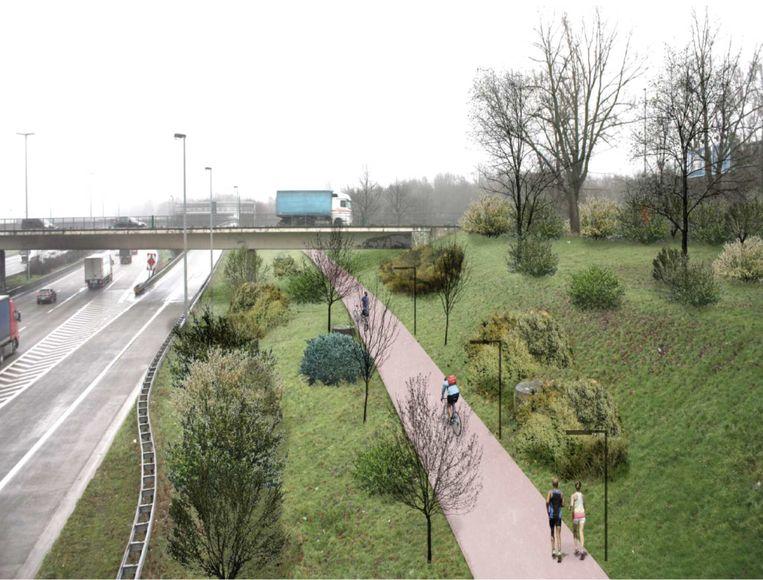 Een simulatiebeeld van hoe het Ringfietspad er zou kunnen gaan uitzien, ter hoogte van de brug over de Ring In Berchem. Nu moeten gebruikers van het Ringfietspad er 'bovengronds' oversteken, terwijl hier een 'ongelijkvloerse kruising' is gecreërd.