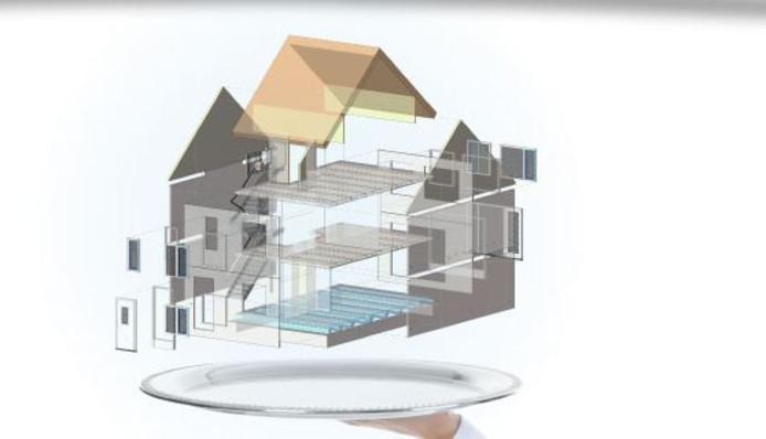 SmartCasco doet de montage van het casco binnen een dag, de aannemer bouwt het huis vervolgens af.