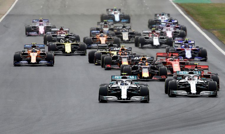 De start van de GP Groot-Brittannië.
