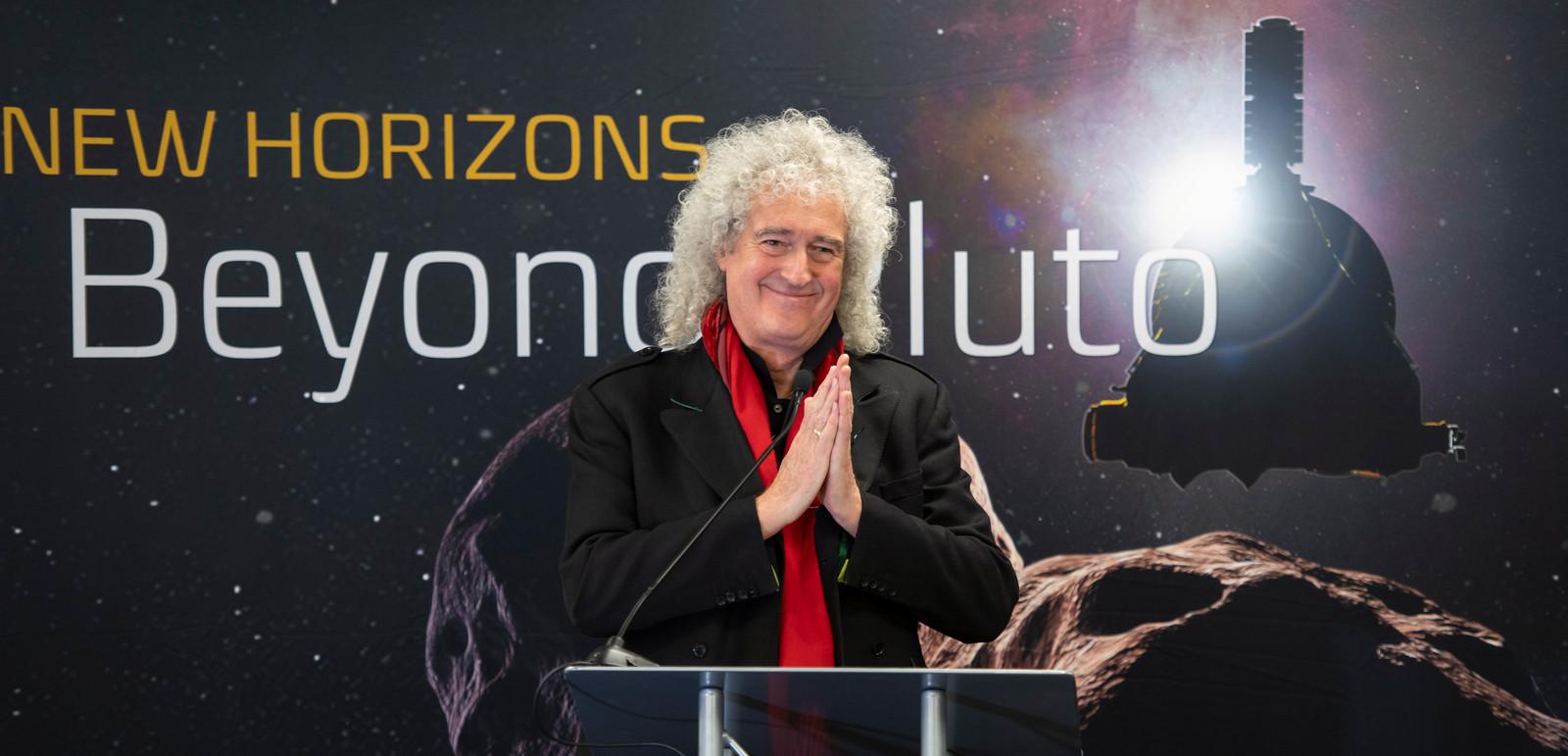 Brian May, guitarist van Queen, op de bijeenkomst.