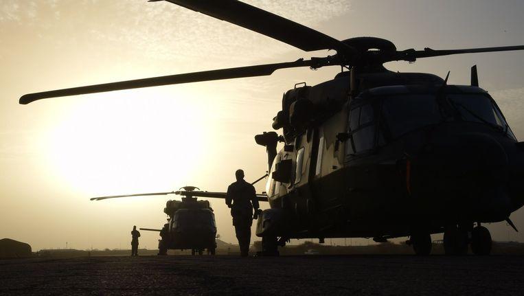 Franse helikopters op de basis in Goa in Mali. Beeld afp