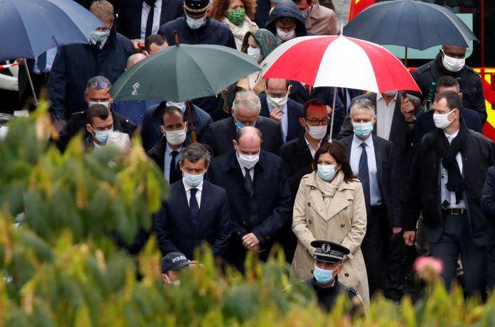 Le ministre de l'Intérieur Gérald Darmanin, le Premier ministre Jean Castex et la maire de Paris Anne Hidalgo