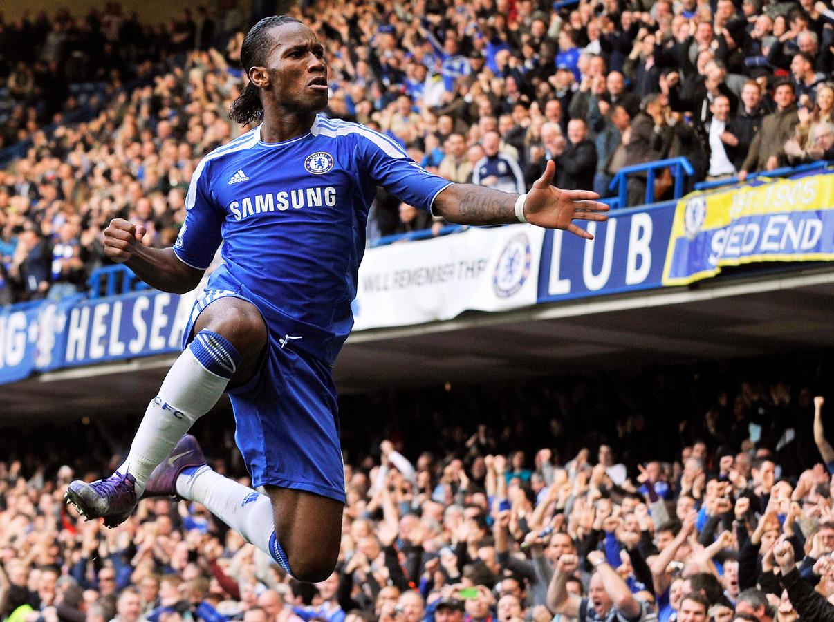 2012: Didier Drogba heeft gescoord voor Chelsea tegen Stoke City.